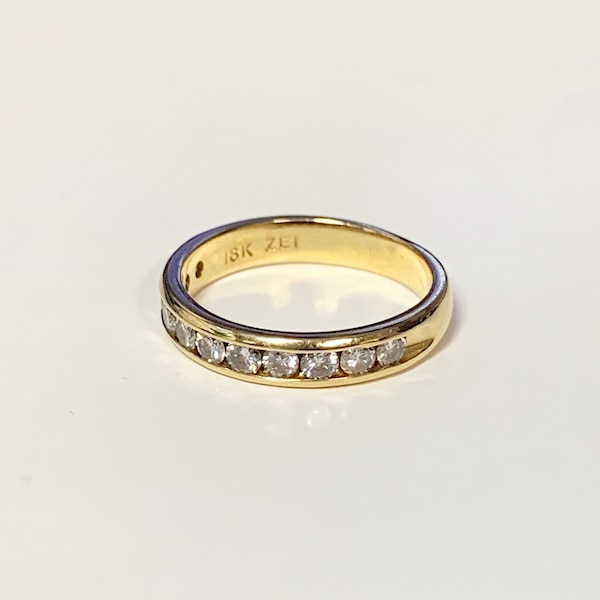 Genuine 18k Gold Diamond Wedding Band Ring 5af101c1-cb34-48b2-a5c6-6f5755dc715e