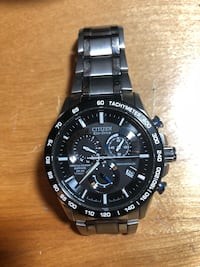 Citizen eco chronograph watch with silver link bracelet Clarington