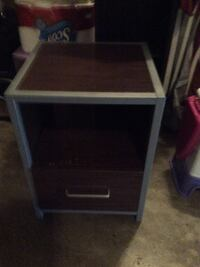 Gray and brown wooden 2-drawer nightstand