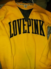 yellow and black love print Victoria's Secret Pink crew-neck sweater