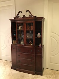 brown wooden display cabinet Wheaton, 60187