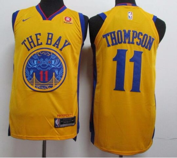 newest 1c35e 073a0 Warriors #11 Klay Thompson Gold City Edition Authentic Jersey