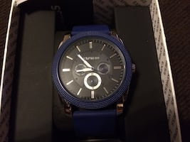 Blue and black express round chronograph watch