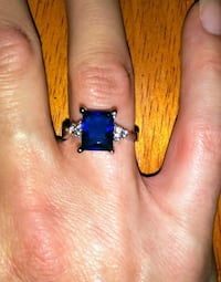 NEW 925 Princess Cut Sapphire Ring Size 7 Chico, 95926