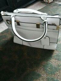 white leather just fab handbag