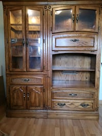 Oak entertainment unit + China cabinet.         Port Coquitlam, V3B 3A2