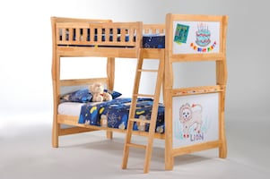 Scribbles Twin/Twin Bunk Bed with Whiteboard Panels