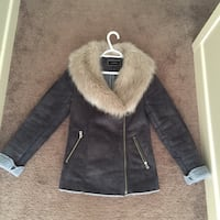 black and gray leather fur jacket