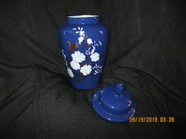 "12"" Tall with Lid * 8-1/2"" without Lid * Navy Ginger Jar"