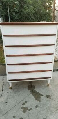 white and brown wooden 5-drawer chest Florence-Graham, 90001