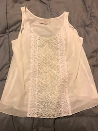Ann Taylor Loft petite white silk top with lace 39 km