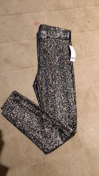 Brand new glitter leggings gold stretch sz m  28 km