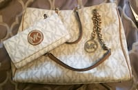 white and gray Michael Kors monogram leather tote bag Surrey, V3W 7X2