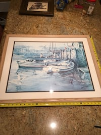 Boats in Harbor Ella Ann art print by James Milton Sessions signed St Paul