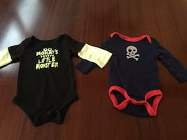 2 outfits- 0-6 Months  baby boy Halloween onesies