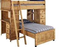Brown wooden bunk bed- in fair condition  Ashburn, 20147