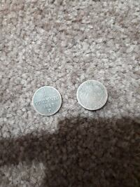 two 1847 round silver-colored 1 Pfenning coins Westbank, V4T 2W3