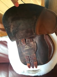 """HDR saddle 16"""" very good condition oiled and cleaned after each use. Slight scuff on pummel from belt Port Trevorton, 17864"""