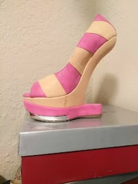 unpaired pink and white open-toe wedge sandal Dallas, 75243
