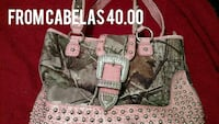 Camo and pink leather tote bag