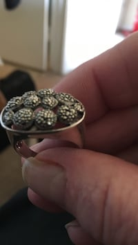 Size8 marcasite heavy sterling silver ring