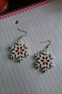 White and red snowflake earrings  Virginia Beach, 23464