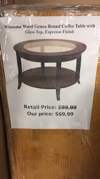 Winsome Wood Genoa Round Coffee Table With Gl