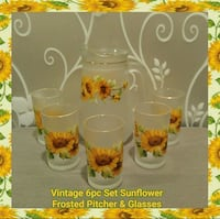 VINTAGE 6PC SET SUNFLOWER FROSTED PITCHER&GLASSES Ontario, 91762