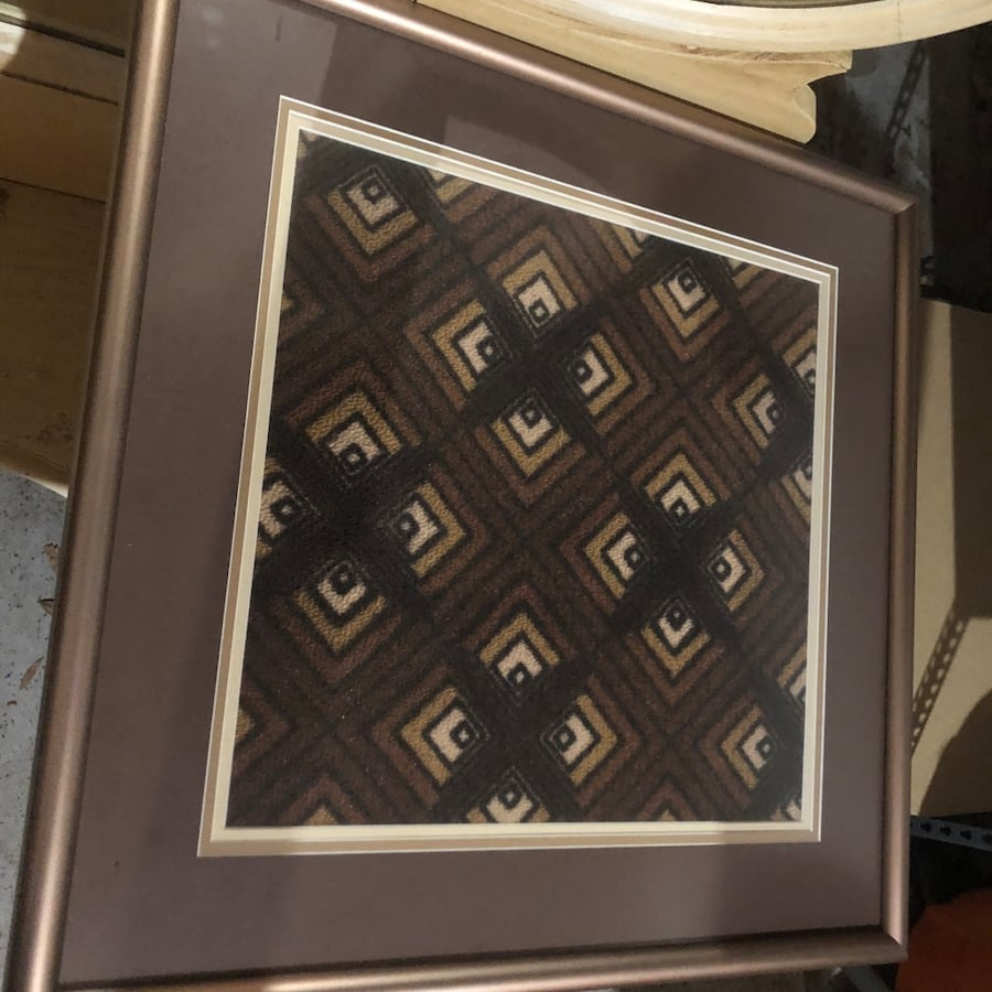 3  pictures of carpet from old trains in custom frames 9491c31b-67ad-42a2-a859-17ca3dff8e24