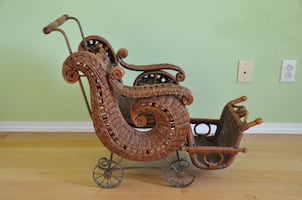 Victorian style wicker doll/baby carriage buggy trolley stroller pram