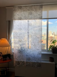 Brand new pure cotton printed full length sheer curtains -set of three @ 25 usd each. Normally sold at 65 usd each. Each curtain is 44 inches ( width) X 95 inches (length) New York, 10036