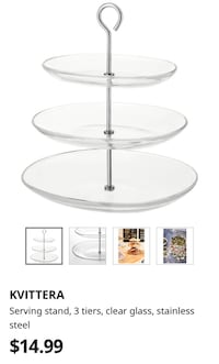 Serving stand, 3 tiers tray, clear glass, stainless steel Vaughan, L4J 2V5