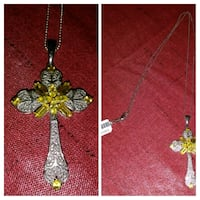 Yellow Sapphire and Sterling Silver Cross by Karis Central Point, 97502