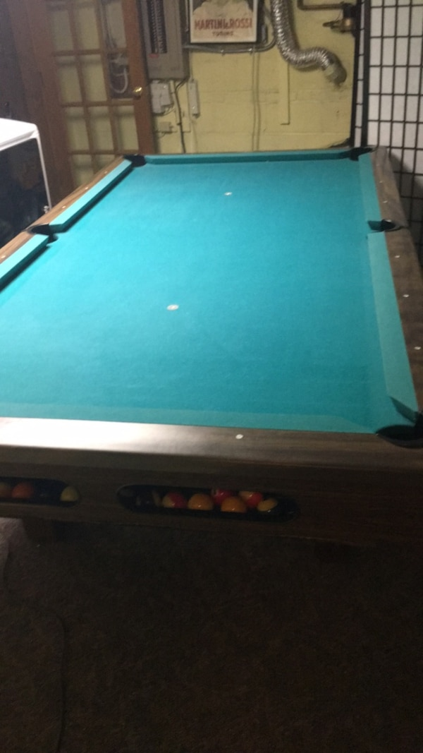 white and green pool table