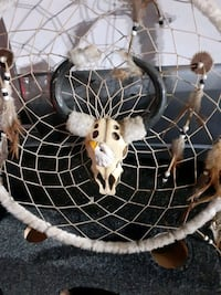 Large Native American dreamcatcher with replica animal skull