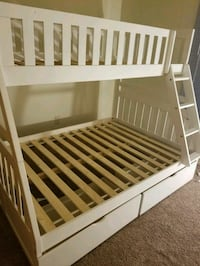 Solid wood white twin/full bunk bed with two stora