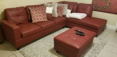 Red Leather Couch Sectional with Ottoman