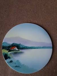 Vintage  Hand Painted Meito  Flat Plate with Lakeside House Montréal