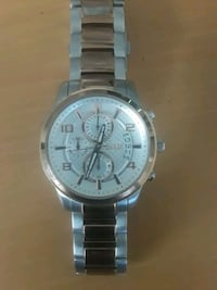round silver-colored chronograph watch with link bracelet Los Angeles, 91605