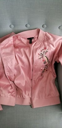 Aqua Embroidered Dusty Pink Bomber Jacket, S Vancouver, V6B