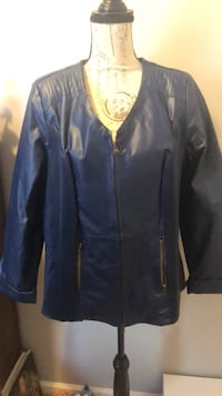 Blue leather zip-up jacket size 14W.  New without tags.  Original price was $179!  Make me an offer! 299 mi