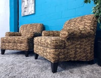 ***Set of 2 Brown Floral Print Sofa Chairs (Free Delivery)  Atlanta, 30336