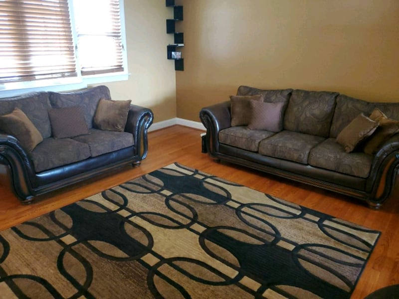 Couch Set Bobs Furniture: Brown Leather & Cloth  6d3835d0-5211-4602-bcf3-bad2a88e19eb