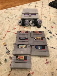 Super Nintendo, Controllers, and 7 Games