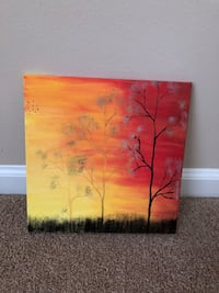 Trees on sunset painting