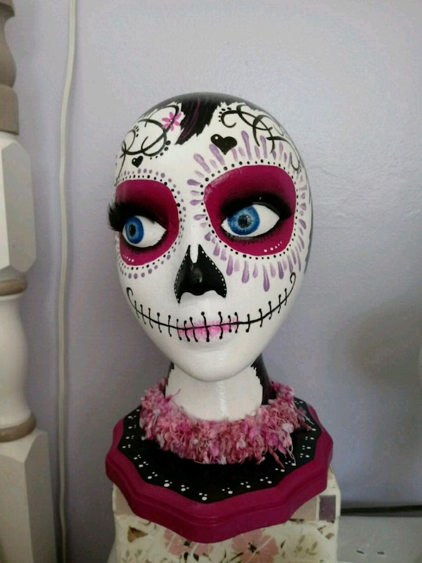 Day of the dead hand painted mannequin head