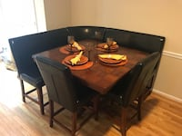 rectangular brown wooden table with four chairs dining set Silver Spring, 20906