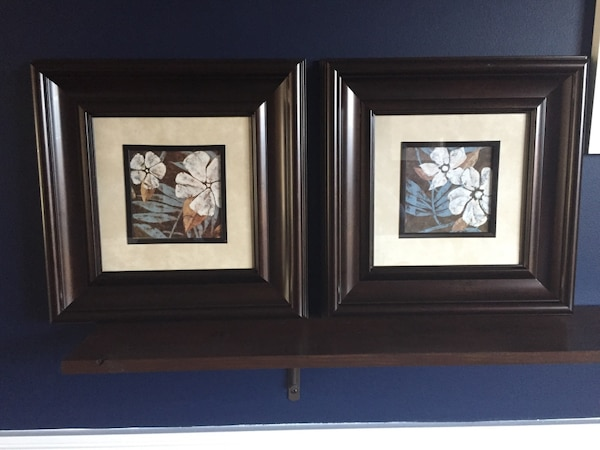 2 framed flower pictures