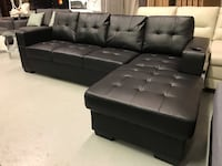 Brand new black faux leather sectional sofa with cup holder on arm rest warehouse sale  多伦多, M1S 1K6