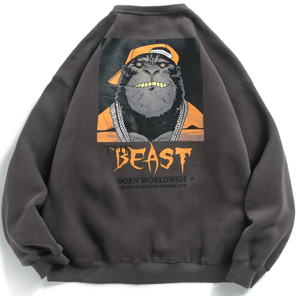 GRAFFITI THE BEAST ORANGUTAN PRINT VELVET CREW NECK SWEATSHIRT  4